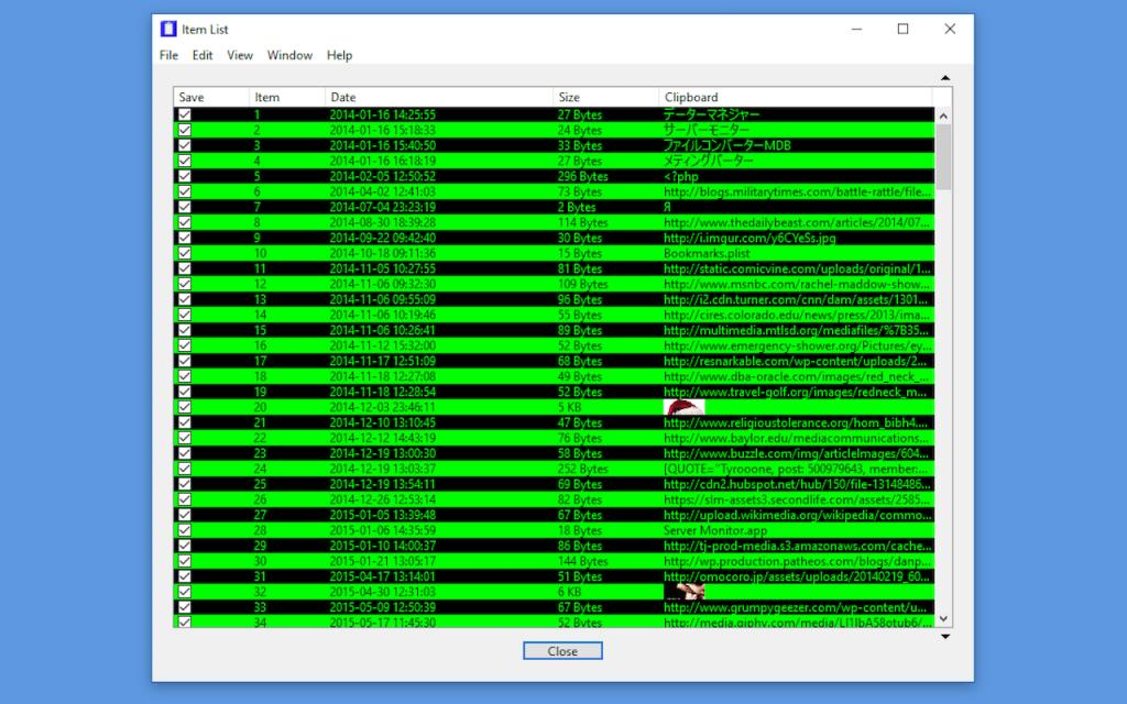 Item List Window - Windows Version