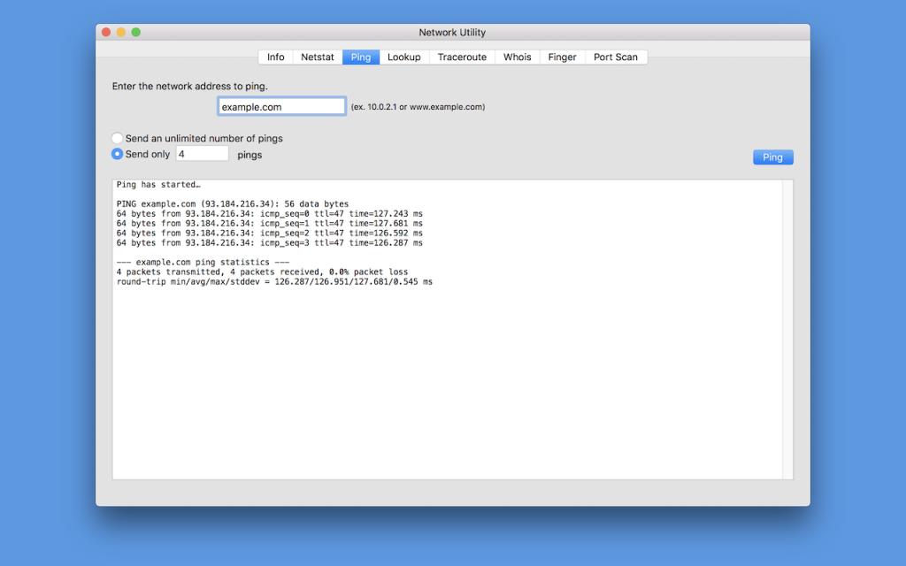 macOS® Network Utility