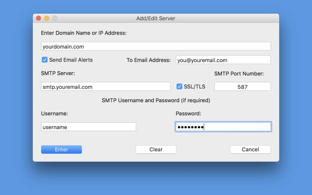 Domain Entry Window - Mac Version