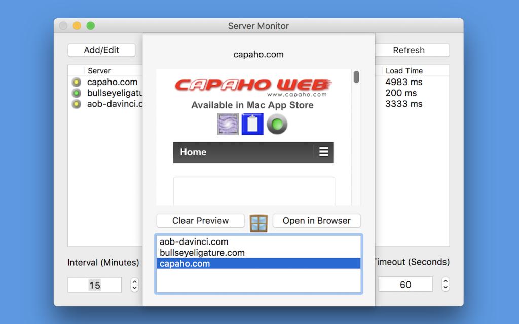 Website Preview Window - Mac
